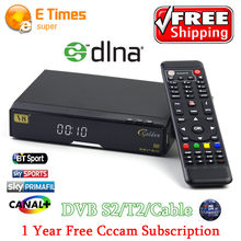 Best price V8 Golden DVB-S2/ DVB-T2 DVB-C free sat Satellite Receiver Decoder + 1 year Europe cccam support USB WIFI set top box