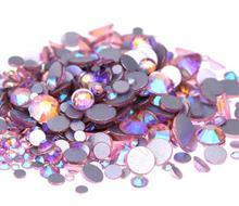 Lt.Pink AB ss3,ss4,ss5,ss6,ss8,ss10,ss12,ss16,ss20,ss30 Flat Back Crystal Non Hotfix Nail Art Glue On Rhinestones