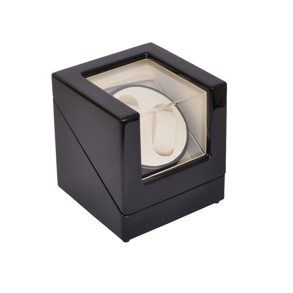 Watch Winder ,LT Wooden Automatic Rotation 2+0 Watch Winder Storage Case Display Box (Outside is black and inside is white) 2016 latest luxury 5 modes german motor watch winder yellow spray paint wooden white pu leater inside automatic watch winder
