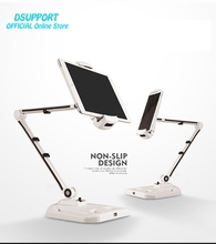 360 Full Rotation Foldable Aluminum Alloy 4.7-12.9 inch Tablet PC Holder/Smartphone Holder Stand with USB Port Charger Big Base