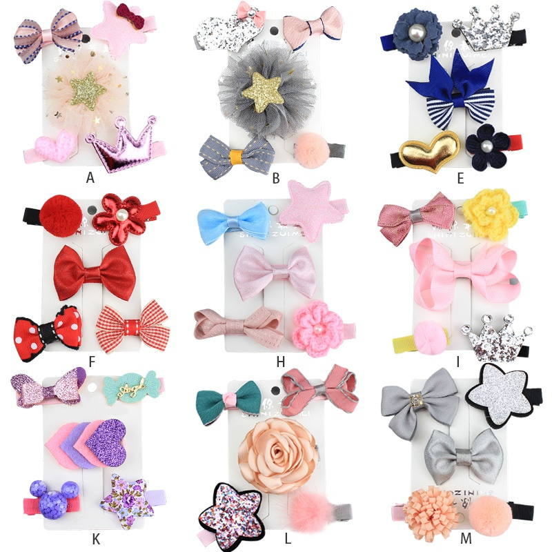 5Pcs Kids Girls Hair Clips Cartoon Cloth Multi-color Hair Pins Accessories Children Hairpin Princess Party Barrettes Headwear