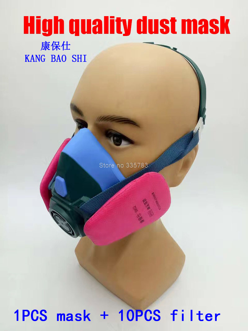 Efficient respirator dust mask The New PM2.5 dust smoke mask with filter 4 pieces of filter cotton painting face mask provide respirator dust mask high quality gray dust mask 10 piece filter cotton painting welding respiration mask