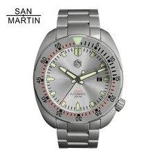 Сан-Мартин Для мужчин часы модные нержавеющая сталь Дайвинг механические часы 200 Водонепроницаемость C3 супер световой Relojes Hombre 2018