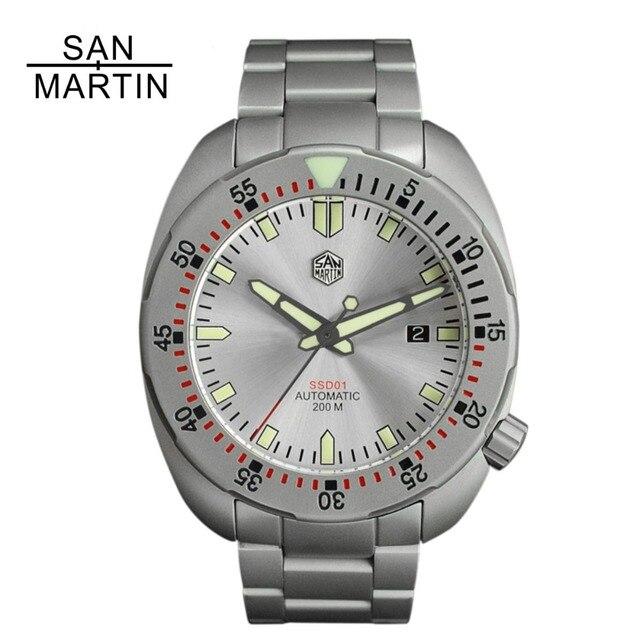 2df9ea5bbcbb Venta San Martin de los hombres reloj moda acero inoxidable buceo ...
