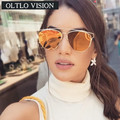 OLTLO New 2017 Trending Women Shades Cooper Fashion Designer Sunglasses Mirror Lens Reflective Sun Glasses Luxury Brand Oculos