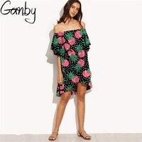 Ganby Ruffle Fruit Print Irregular Dress Shirt Women Off Shoulder Summer Dress Short Sleeve Beach Sexy boho Dresses Vestidos
