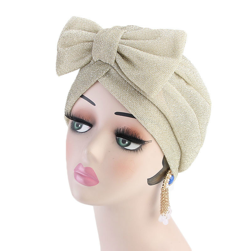 New Fashion Women Hijabs Turban Bowknot Elastic Cloth Head Cap Hat Ladies Hair Accessories India Hat Muslim Scarf Cap Wholesale