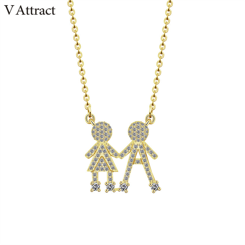 V Attract Baby Charm Choker CZ Boy Girl Twins Children Kids Pendant Necklace Femme Fashion Jewelry Gold Filled Gargantilha|charm choker|fashion chokerfashion necklace - AliExpress