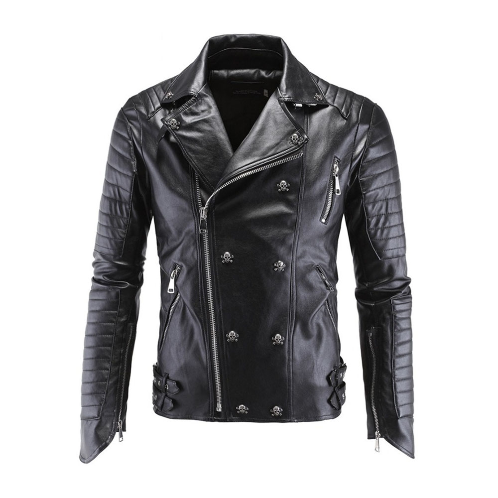 Motorcycle PU Leather Jacket Winter For Harley Fashion PU Leather Jackets Faux Jacket Stylish Slim Fit Coats Moto Skull Jacket