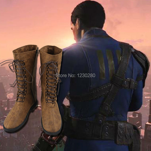 Game Fallout 4 Nate Cosplay Boots Male Shoes Custom Made Adult Men Cosplay Battle Shoes Boots