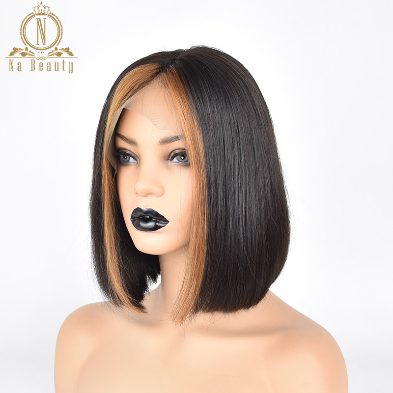 Ombre Wigs Glueless Lace Front Short Bob Wig 27 Honey Blonde Red 99J Color Silky Straight Black Human Remy Hair Wigs For Women