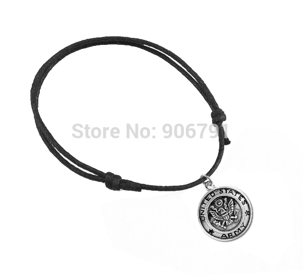 Antique Silver Plated Wax String United States Army Charm Bracelet In Bracelets From Jewelry Accessories On Aliexpress Alibaba Group