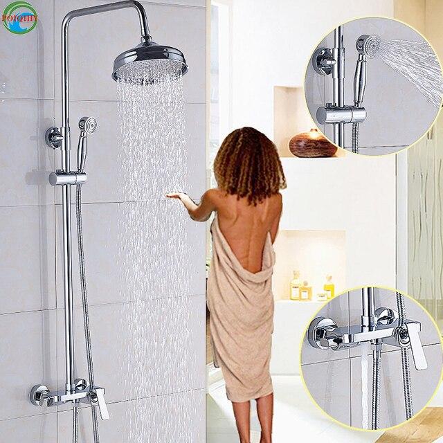 8u0027u0027 Solid Brass Chrome 1 Set Shower Head Bathroom Faucet Mixer Tap Shower  Faucet Rainfall Round Handheld Shower Head