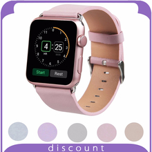 38mm 42mm for Apple Watch Smart Watch Women Leather Strap Replacement for Apple Watch with s/s Metal Clasp ( -light pink)