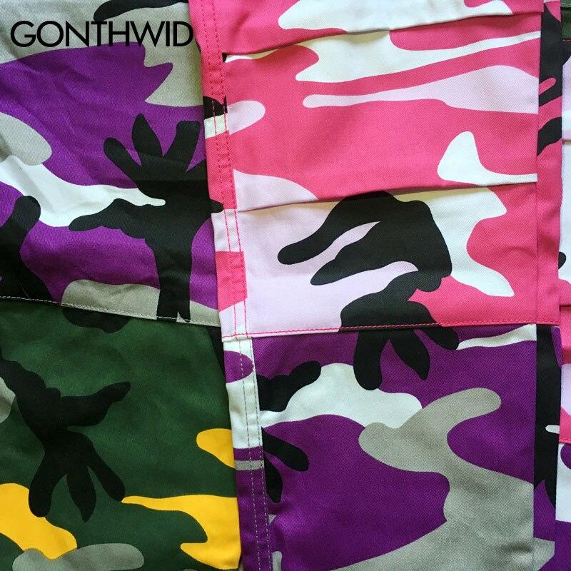 2019 Tri Color Camo Patchwork Cargo Pants Men's Hip Hop Casual Camouflage Trousers Fashion Streetwear Joggers Men Sweatpants - 5