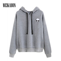 WEIKADUN 2017 Fashion Long Sleeve Hooded Funny Solid Colors Women Hoodies Fitness Streetwear Hip Hop