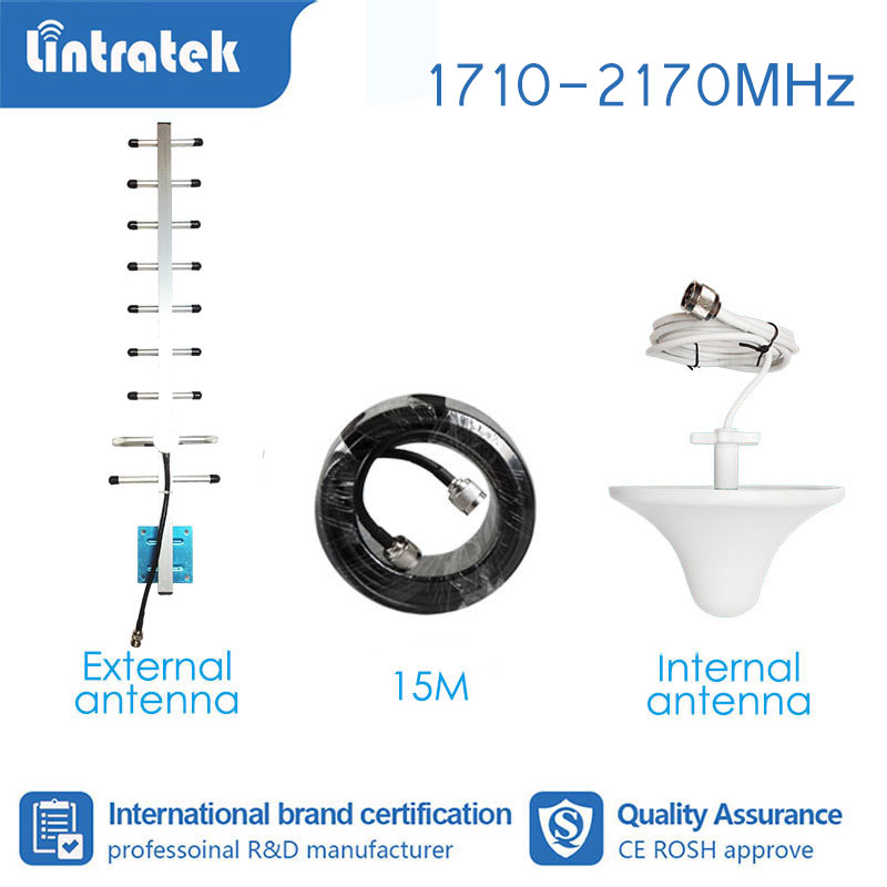 Lintratek Full Set Booster Accessories Antenna For Signal Booster Amplifier 3G 4G 850 1800 1900 2100 1700 Mhz 15meter Cable  S4