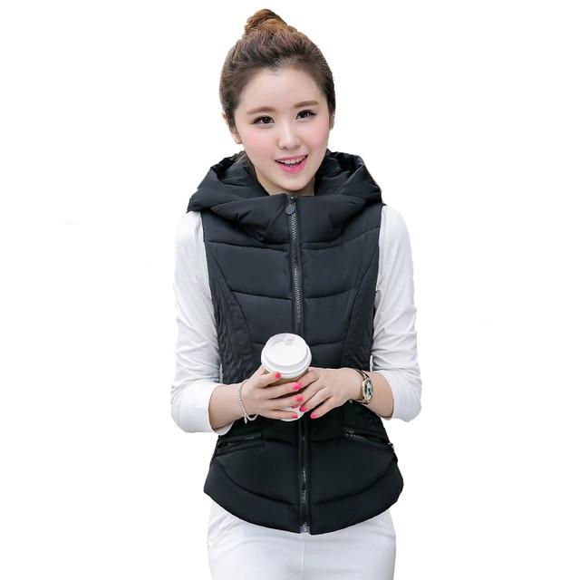e125d9de0aa25 Female Fashion Sleeveless Bomber Jackets Women Hooded Slim Black Puffer  Parkas Office Ladies Smart Outfit Burgundy Outwear Coats