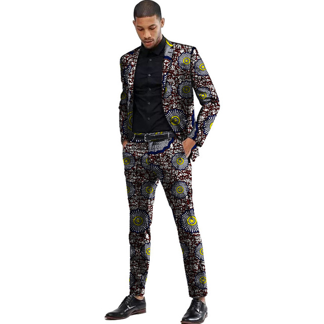 Africa Style Men Suits Dashiki Print Suit Jacket And Pant