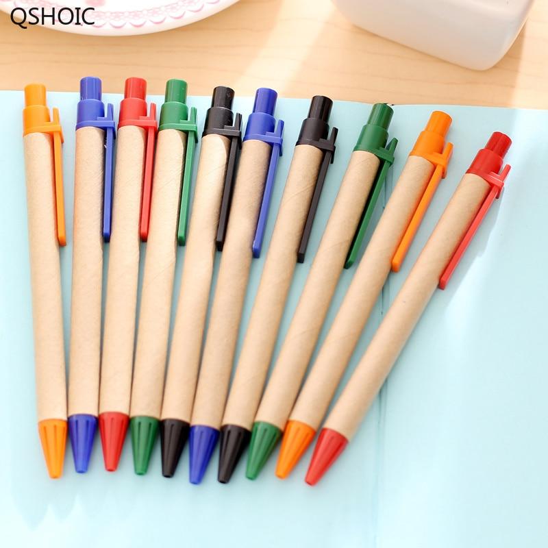 QSHOIC 500 pz/lotto m penna carta riciclata Kraft tubo di carta logo personalizzato penna a sfera carta Riciclata penna della pubblicità