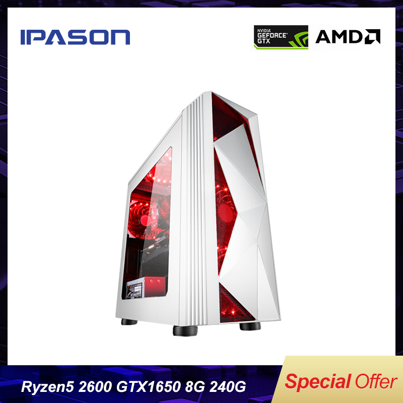 AMD 6-Core Ryzen5 <font><b>2600</b></font> Gaming PC IPASON P81 Desktop/Upgrading GTX1650 4G/DDR4 8G/240G SSD win10 barebone assembly Gaming PC image