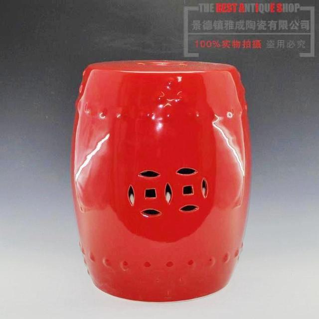 Beau Beautiful Oxblood Red Ceramic Porcelain Garden Stool Seat