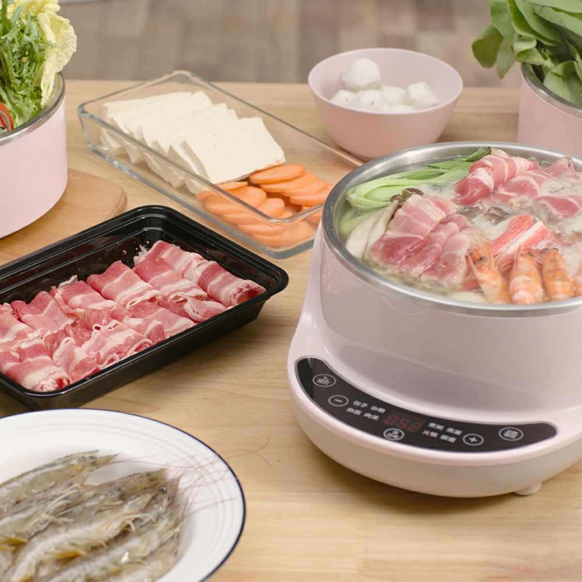 600 W 3 Lapisan Food Steamer Hot Pot Stainless Steel Soup Bubur Pot Sayuran Daging Pemanasan Cooker Alat Dapur 4L