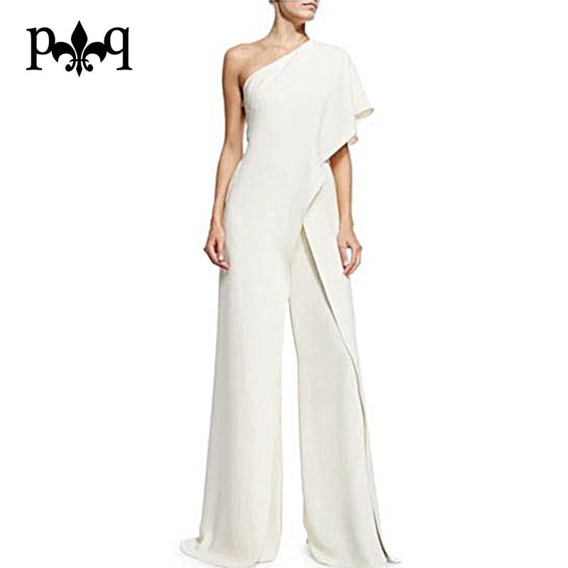 Hilove Women Summer Jumpsuit 2017 New Fashion One Shoulder White Jumpsuits Elegant Ladies Wide Leg Pants