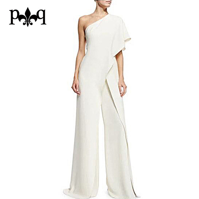 b1ce6811733 Hilove Women Summer Jumpsuit New Fashion One Shoulder White Jumpsuits  Elegant Ladies Wide Leg Pants Casual Women Overalls