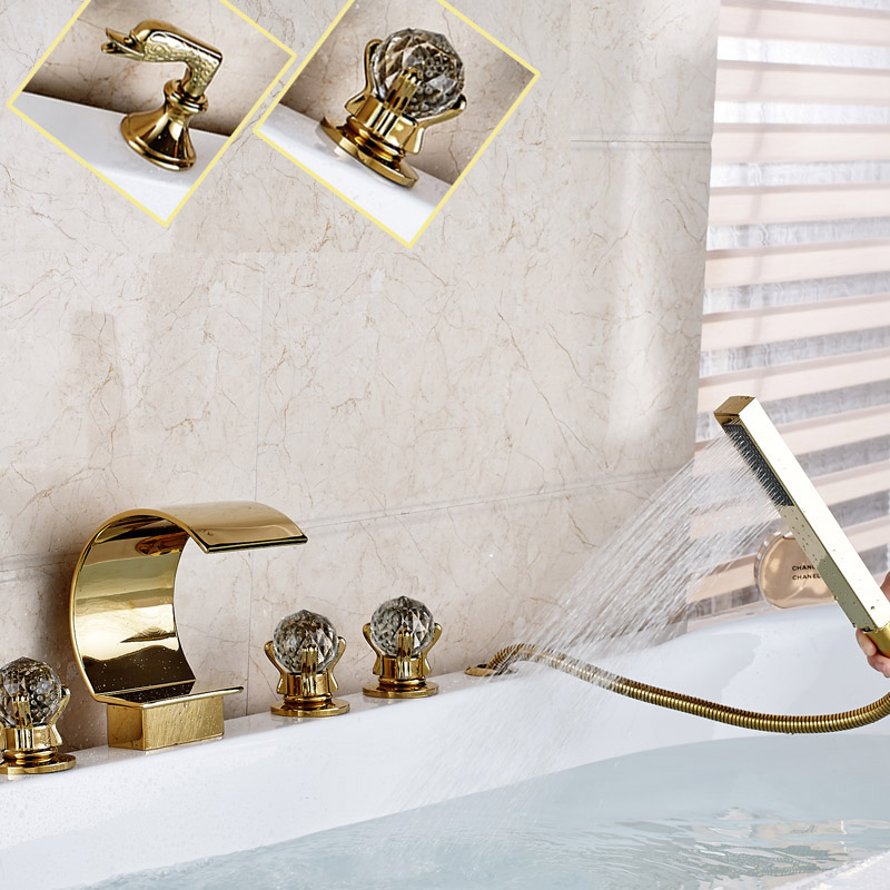 Gold-plate Widespread 3 Handles Waterfall Spout with Hand Shower Tub Mixer Faucet Deck Mounted 5 Holes