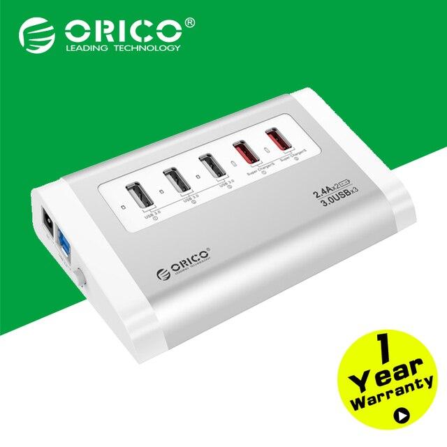 UH3C2-SV ORICO USB3.0 HUB 5 Gbps de Alta Velocidade com Carregador para o Telefone Móvel Tablet Plug UE/EUA Plug-prata
