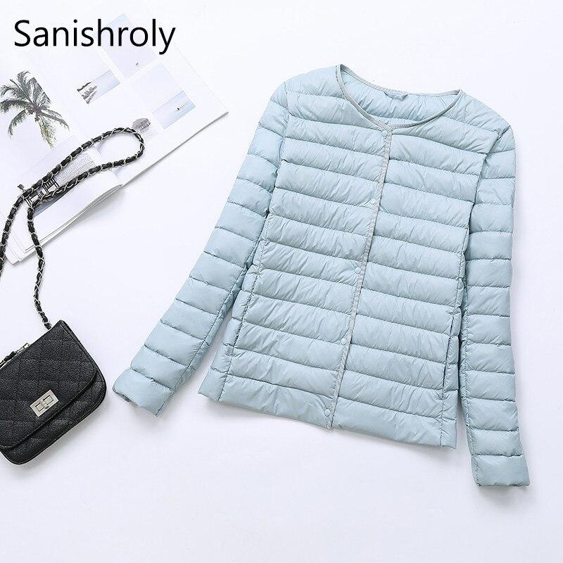 Sanishroly Two Wear New Ultra Light   Down     Coat   Parka Women White Duck   Down   Jacket Female Short Outerwear Tops Plus Size 4XL SE387
