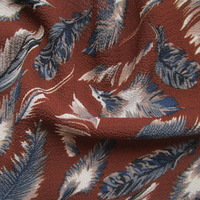Vintage Feather Printed Chiffon Fabric For Dress Scarves Classic French Scarf Blouse African Clothes Curtain Sewing Cloth