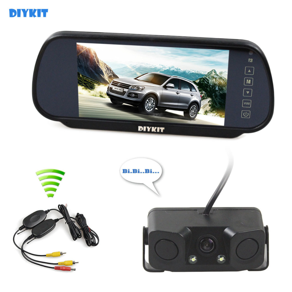 цена на DIYKIT Wireless Parking System Waterproof Parking Radar Sensor Rear View Car Camera With 7 inch Car Rear View Mirror Monitor