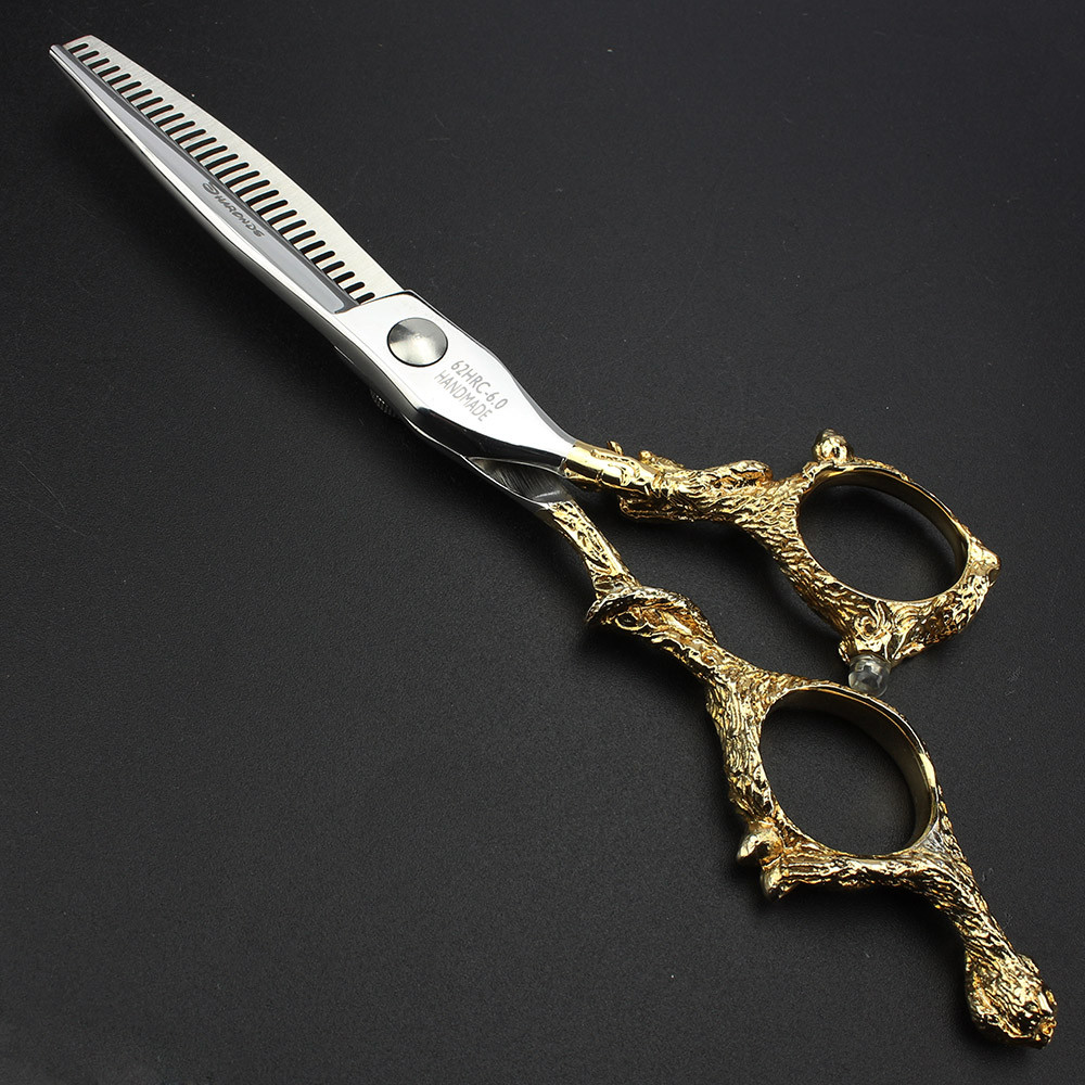 Купить с кэшбэком High-grade hair scissors 6 inch sapphire golden dragon home professional hair scissors Japan professional hairdressing scissors