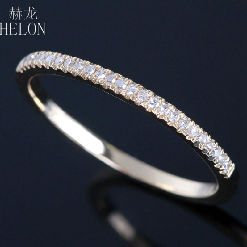 HELON Fine Jewelry Solid 14K Yellow Gold Pave 0 15ct Genuine Diamonds Engagement Wedding Band Women
