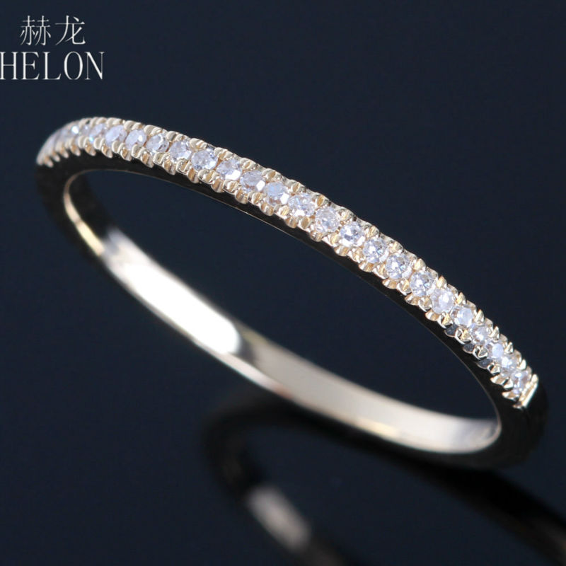 HELON Fine Jewelry Solid 14K Yellow Gold Pave 0.15ct Genuine Diamonds Engagement Wedding Band Women's Fine Diamonds Ring
