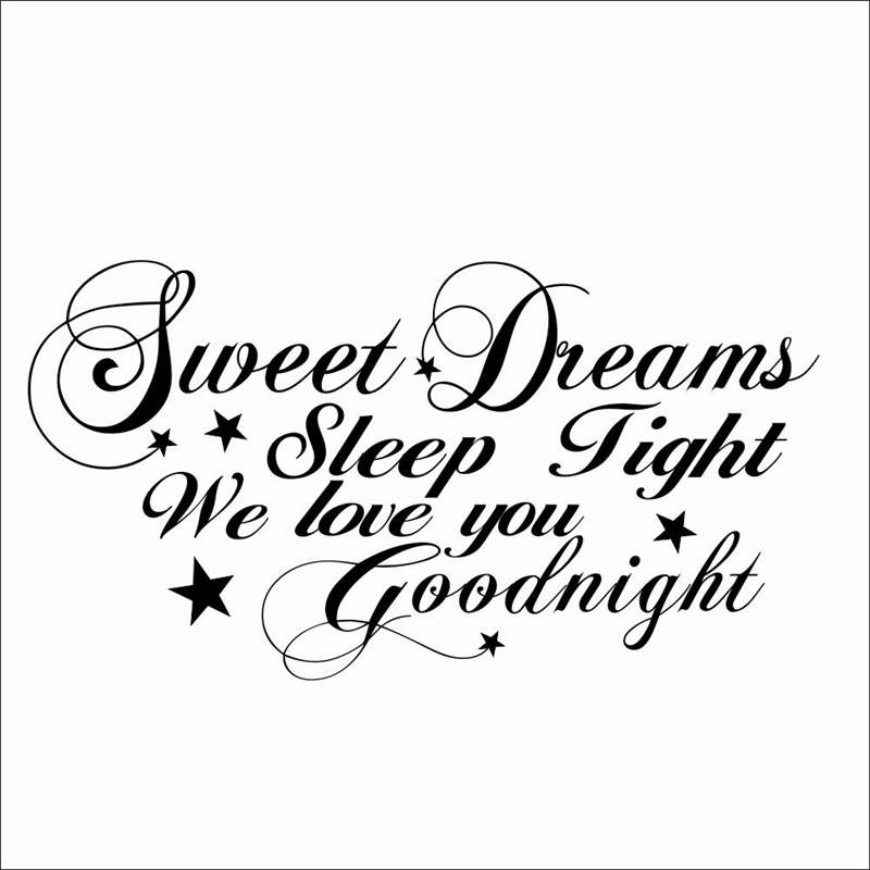 Sweet Dreams Sleep Tight We Love You Goodnight Quotes Wall Stickers