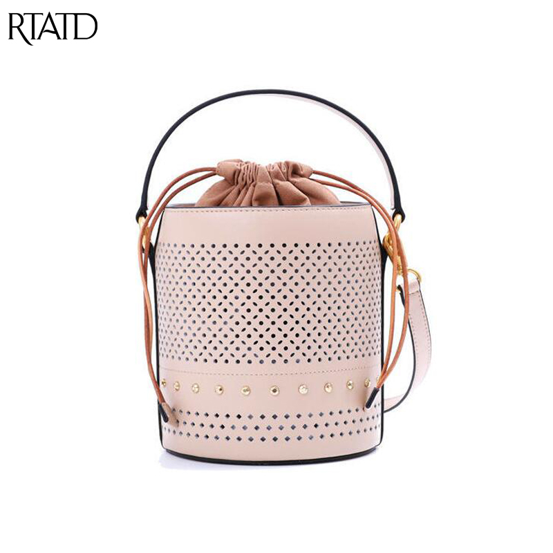 New Women Genuine Leather Handbag Hollow Out Design Lady Bucket Tote Luxury Brand Female Shoulder Crossbody Bags Q038New Women Genuine Leather Handbag Hollow Out Design Lady Bucket Tote Luxury Brand Female Shoulder Crossbody Bags Q038