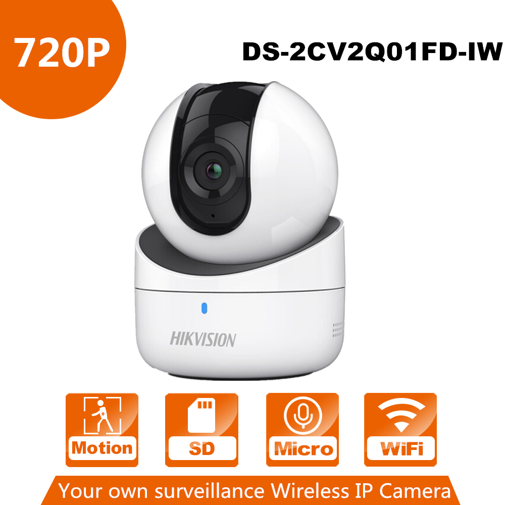 все цены на In Stock Hikvision Mini WiFi Camera 720P CMOS Wireless IP Camera DS-2CV2Q01FD-IW Wi-Fi Network PT Camera Built-in Speaker & SD