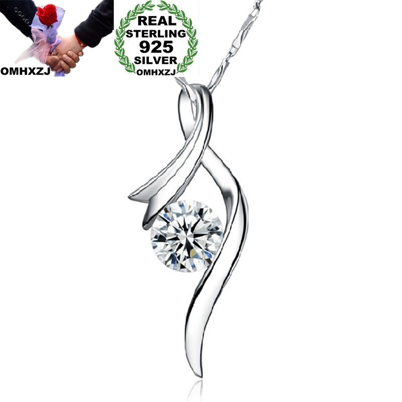 OMHXZJ Wholesale Personality Fashion OL Woman Girl Gift Vintage White Amethyst AAA Zircon 925 Sterling Silver Pendant Charm CH26 in Charms from Jewelry Accessories