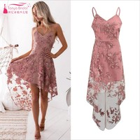 Vintage Short front Long Back High Low Embroidery Homecoming Dresses 2018 In stock Cheap Party Dress Cocktail Gowns DQG393