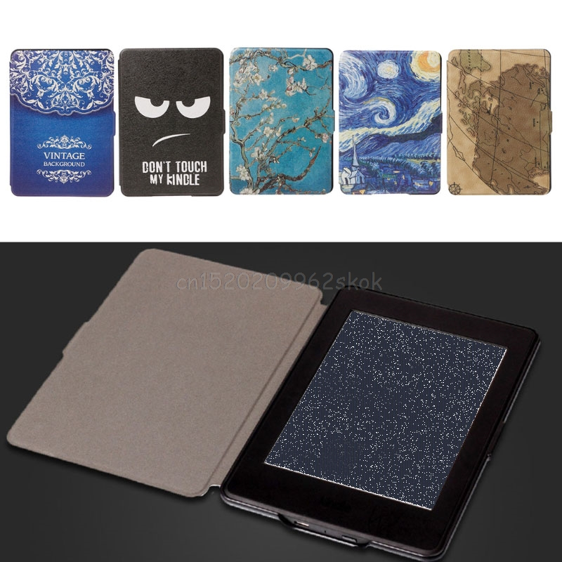 Slim Faux Leather Protective Shell Cover For 6 Amazon Kindle Paperwhite 1/2/3 J05 Drop shipping cartoon painted flower owl for kindle paperwhite 1 2 3 case flip bracket stand pu cover for amazon kindle paperwhite 1 2 3 case