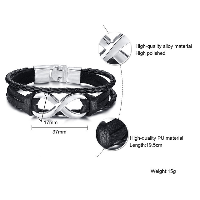 Braided Leather Infinity Charm Cuff Bangle Mens and Women Bracelet