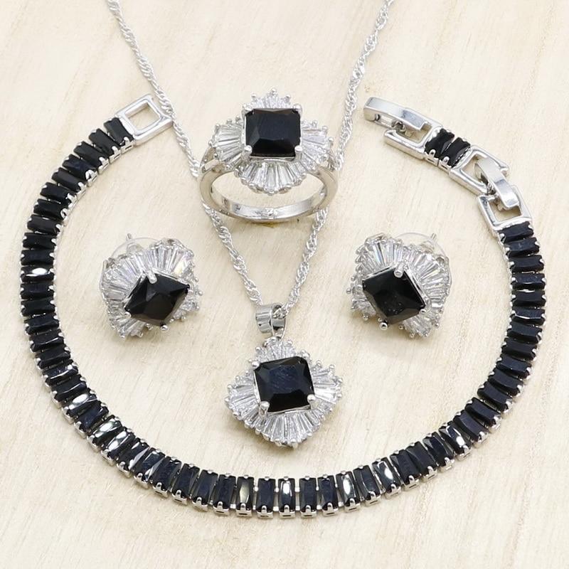 Jewelry-Sets Necklace Bracelet Cubic-Zirconia Ring Pendant Silver Women Black Geometric