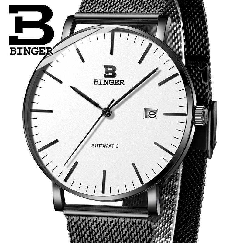 Switzerland BINGER Mens Watches Luxury Brand automatic mechanical Men Watch Sapphire Male Japan Movement reloj hombre B-5081M-7 sollen mens automatic mechanical watch diamond gold full steel sapphire waterproof luminous male luxury top brand watches reloj