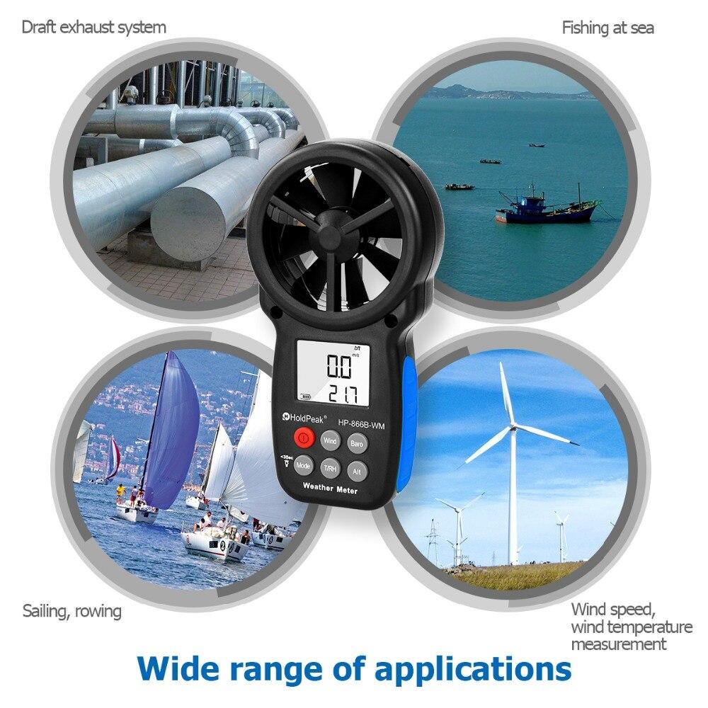 Anémomètre HoldPeak HP-866B-WM compteur de vitesse du vent capteur numérique tasse Anemometro 30 m/s LCD mesure à main outil humidité de l'air - 6