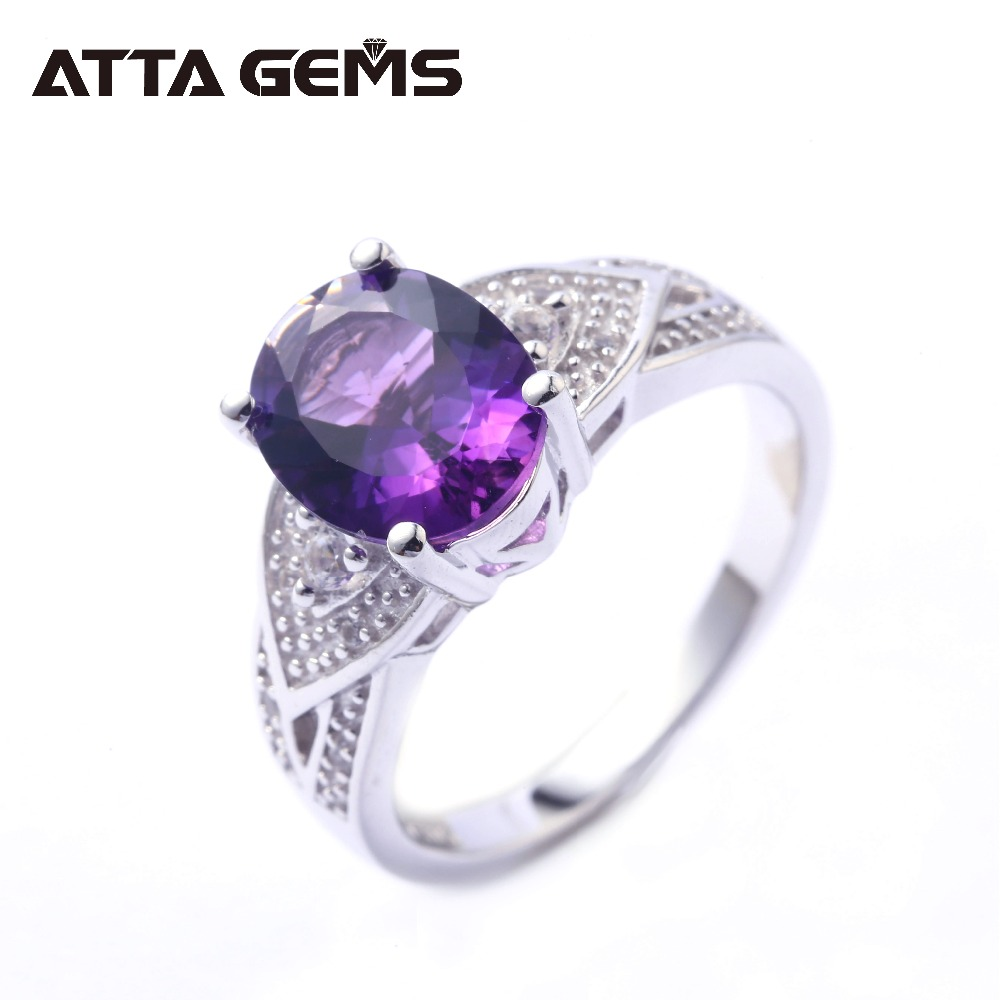 Natural Amethyst Sterling Silver Rings For Women Fashion Jewelry 4 Carats Natural Amethyst Womens Silver Rings Top Quality GiftNatural Amethyst Sterling Silver Rings For Women Fashion Jewelry 4 Carats Natural Amethyst Womens Silver Rings Top Quality Gift