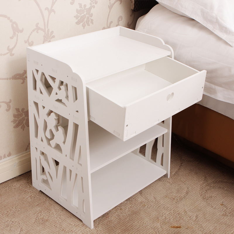 Modern bedside table European minimalist storage cabinet white assembled carved garden bedside cabinet lo829359 willow wood bamboo rattan straw bedside cabinet lockers storage cabinets debris cabinet