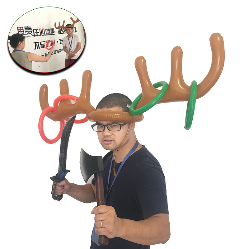 Plastic Inflatable Santa Funny Reindeer Antler Hat Ring Toss Christmas Holiday Party Game Supplies Toys Wholesale